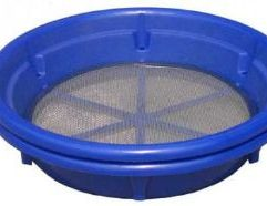 """Blue Classifying Sieve - 100 Mesh Keene's stackable Blue Classifier sieves enable you to stack several sieves together for graduated classification. The sieves lock into position with a 1.5 inch gap between the screens which allows you to stack screens and size your material all at once. The compact stack-ability makes transporting into remote areas a breeze, not to mention storage and shipping becomes a snap. 13 sieves in stack up into a 12 inch tall stack! The Blue Sieves fit over most 5 gallon buckets and is constructed with stainless steal mesh and high impact plastic frame. Mesh size: .01"""" Dimensions: Top 14"""" - Bottom 11"""" - Height 3"""""""