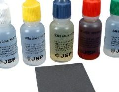 """Gold Test Kit 10K, 14K, 18K, 22K Gold and Silver Test Acid Kit Tools 5 Bottles of Testing Acid This is a new set of 4 bottles of testing acid. Each bottle contains 1/2 fl oz of acid. Sturdy plastic bottles maximize safety and allow the user to easily squeeze out one drop at a time. You receive: One bottle of 10 karat gold testing acid One bottle of 14 karat gold testing acid One bottle of 18 karat gold testing acid One bottle of 22 karat gold testing acid One bottle of silver testing acid Due to testing acid being classified as a hazardous material it cannot be shipped by air and can only be shipped to the lower 48 states. Acid Test Stone This is a new acid testing stone This stone is used to test 10K, 14K, 18K, 22K and silver Use this stone with acid solutions It measures approximately 1 7/8"""" x 1 1/2"""" x 1/4"""" (48 x 37 x 6 mm)"""