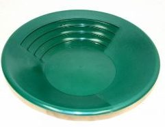 """14 Inch Super 3-Stage Gold Pan - SP14 - Green Pan three times as fast as you would with a conventional gold pan! This pan has three surfaces that perform specialized tasks: 1. The coarse riffled area is used to """"rough out"""" the majority of material. 2. The textured area is used to pan any remaining black sand. 3. The """"smooth surface"""" is used until only the gold remains. The Super Pan is 14 inches in diameter, green in color for good visual contrast and comes with a lifetime guarantee."""