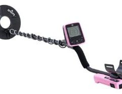 """White's MX7 - Pink DETAILS Includes a Free Bullseye II, a savings of $69.95 Packed with advanced features and class-leading performance, the MX7 is a lightweight, rugged metal detector built for demanding hobbyists looking to step up to the big-leagues without the sticker shock. At only 3.5 lbs, the MX7 delivers exceptional depth, recovery speed, and ergonomics at an unheard-of price. For the """"beep and dig"""" types, get started with six preset programs (Coin and Jewelry, All-Metal, Beach, Prospecting, Relic, and High Trash) and easy-to-access threshold, gain, ground, and pinpoint modes. Pressing the Options button accesses more controls, with user-adjustable Volume, Threshold, Depth Units, Backlight Level, Frequency Shift, Salt Track, Program, Self-Adjusting Threshold, Iron Grunt, VCO, Reject Volume, and Discrimination Mask. The included 9.5″ Concentric coil makes pinpointing targets easy, and offers incredible depth in mild to moderate soils (optional accessory coils include all Sport coils). Due to its 14kHz operating frequency, the MX7 excels at locating smaller targets, such as hammered silver coins and small gold earrings. The MX7 features a robust transmit circuit compared to other models in its price range, and is capable of extreme depths on coin-sized objects. As a relic-recovery device the included Reject Volume can easily identify iron patches as well as help unmask very deep or hidden targets in stubborn sites. A high-powered onboard speaker, rear-mounted 1/4″ headphone jack, and large, backlit display complete the design, complimented by the high-visibility black and orange color scheme. IP 54 rated – dust and water-resistant."""