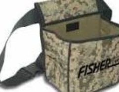 FISHER LABS Camo Canvas Metal Detecting Finds Recovery Bag with Adjustable Belt. This camo Pouch features Two Large Pockets to separate treasure from trash. This useful bag can also carry digging tools and pinpointers on the exterior webbing grid. This bag secures with its own belt, and is ideal for water hunting. Keep your treasure safe and secure anywhere you hunt!