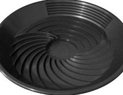"""TurboPan Gold Prospecting Tools 16″ Black Plastic Gold Pan for Sluice Panning This black Gold Pan is the right piece of prospecting equipment that gets all the gold easily and quickly. The TurboPan gold pan is a prospecting tool and mining tool for the prospector and artisan miner involved in small scale mining. Whether you're a hobbyist out looking for a run or a crevice filled with gold, or gold panning for a living in a developing country, TurboPan is the right piece of prospecting equipment that gets all the gold easily and quickly. TurboPan eliminates the problem of compaction that happens in the traditional """"Klondike"""" pan because it is basically a circular sluice. TurboPan doesn't require running water like a sluice, it simply maximizes the effects of gravity. Its shallow depth means it can be used in puddles and troughs. Do yourself a favor. Upgrade to a TurboPan, and make your gold panning as successful as it can be. It may be the best investment in your panning you will ever make. The TurboPan gold pan gets the gold and heavy minerals to the bottom of the pan and into a central trap quickly because the pan is shallow. The TurboPan is only around 5cm deep on the edges. It acts just like a """"sluice in a pan"""" – trapping all the gold in its extensive riffle system. You'll improve your panning prospects with TurboPan. It's a better way to pan for gold! Instructions Place dirt into pan. It is best to only fill it 3/4 full, which is about 6kg. Ensure the concentric riffles are on the side away from you. These are the clean up riffles. Submerge pan underwater completely, holding the pan on each side. Rotate pan clockwise and anti-clockwise very quickly for about 5 seconds. This is to get the water to go right through the dirt and start the saturation process. Hold the pan with one hand. With your other hand, stir the dirt in the central collection trap, checking for compaction and clay where the water has not fully penetrated. Stir the dirt by hand until you're sati"""