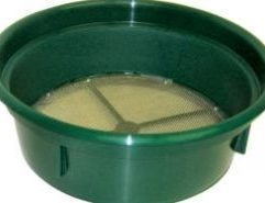 12 Mesh Classifying Sieve - CS12 Save time and improve your recovery with this .08 inch Classifying Sieve! Our Sieves are used for sizing material down before processing through a sluice box or gold pan. Stack various mesh grades together for multi-tiered classification! Conveniently fits over the top of most 5-gallon buckets and constructed of high-impact plastic and stainless steel mesh.