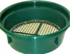 2 Mesh Classifying Sieve - CS2 This Classifying Sieve enables you to classify your material before processing it through your sluice box or gold pan. Made of high-impact plastic and 1/2 inch stainless steel mesh, this sieve will save you time and improve your recovery. Conveniently sized to fit over most 5-gallon buckets and can be stacked with other sieves for graduated classification.