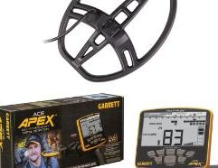"""Garrett ACE Apex Metal Detector with 8.5"""" x 11"""" Multi-Flex DD Raider Coil and Wireless Headphones This ACE Apex from Garrett has been upgraded with a 8.5"""" by 11"""" Raider coil to find even more treasure. The ACE Apex is a great multi-frequency metal detector for beginner detectorists because it is simple to use and comes with many ready-to-go settings. The multi-frequency functionality allows the user to select 1 of four different frequencies or two all frequency modes, one perfect for land hunting and one setting specific for hunting in saltwater beaches. With the waterproof coil and a rainproof control box, you can take this out in all weather and treasure hunt along the surf. Two separate coin modes allow you to narrow your search. The U.S. coin setting even displays whether you may be about to unearth a quarter or a penny with coin icons beneath the notch pattern upper scale. The Apex will certainly help up your detecting game. Selection Modes: Zero Discrimination Mode (All metal) Jewelry Mode Custom Mode Relics Mode Coins Mode US Coins Mode Pinpoint Mode (When Pinpoint button is pressed)"""