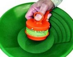 """The Big Orange Gold Magnet It's Big, it's orange, and it will eliminate more black sand faster with less gold included! A definite """"must have"""" for removing magnetic sand from dredges and dry washer concentrators. Works wet or dry, just follow the included instructions!"""