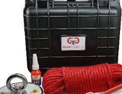 """Brute Box 1,200 lb Magnet Fishing Bundle (4.72"""" Magnet + Rope + Carabiner + Threadlocker) × 1 The ultimate all-in-one kit with everything you need to start magnet fishing right away. This handy waterproof hard-shell plastic carrying case includes our strongest magnet (4.72"""" - 1,200 lb pull), threadlocker, and 1/4"""" double braided rope with carabiner, nestled in a custom foam insert. Buy now and see what you can discover! SKU: 120-CASE Magnet Specifications: Dimensions: 4.72"""" x 0.70"""" Hole Diameter: 0.47"""" (12mm) Material: NdFeB Magnet + A3 Steel Plate Coating: NiCuNi Pulling Force: 1,200 lbs Double Braided Rope Specifications: Double Braided 65 feet 1,600 lb Breaking Strength 1/4"""" diameter (6mm) 8 inner strands Rot and UV Fading Resistant Not suitable for climbing High quality carabiner rated to 5,600 lbs Case Specifications: Outside Dimensions: 10.5"""" x 9.5"""" x 6.75"""" Inside Dimensions: 9.5"""" x 7"""" x 4.75"""" Black high impact polypropylene plastic IP 67 Waterproof Rating Includes knob with O-ring for manual pressure adjustment Two draw latches ensuring a tight seal Two padlock holes for additional security Holds one 1,200 LB magnet - 4.72"""" diameter Style may vary slightly"""